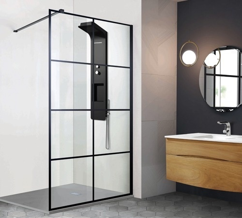 paroi de douche verri re serigraphi noir securit 8 mm. Black Bedroom Furniture Sets. Home Design Ideas
